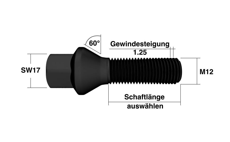 Radschrauben M12x1,25 Kegelbund in Schwarz