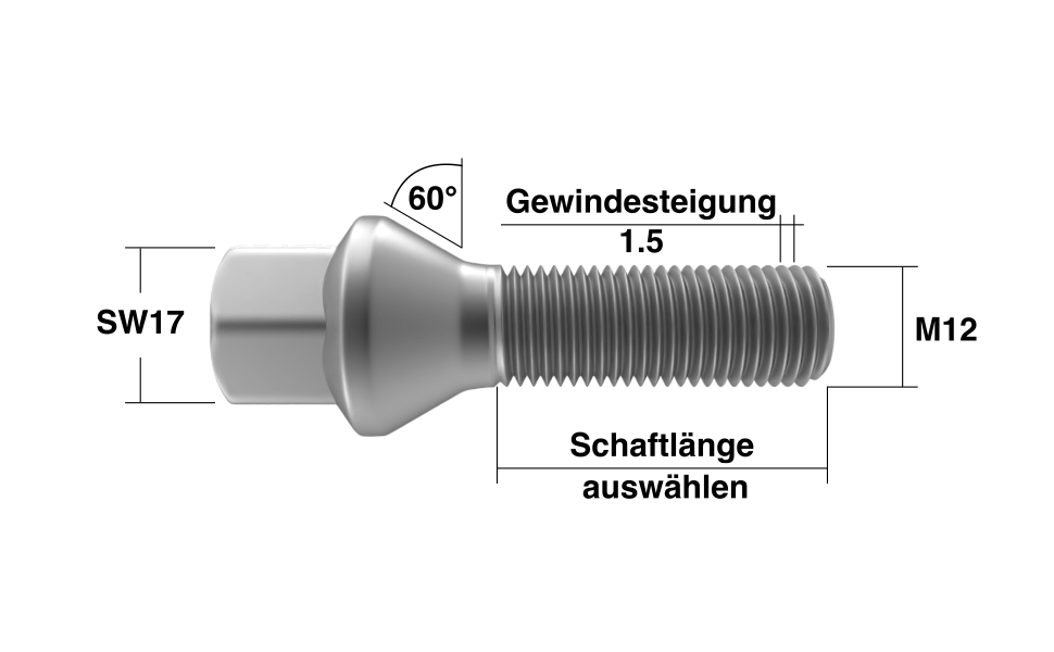 Radschrauben M12x1,5 Kegelbund in Silber