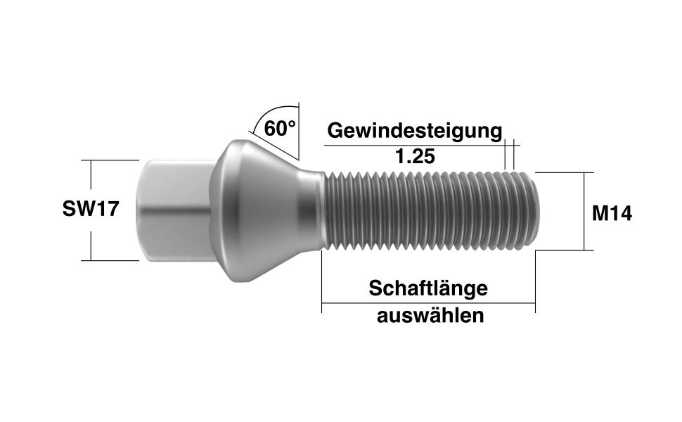 Radschrauben M14x1,25 Kegelbund in Silber