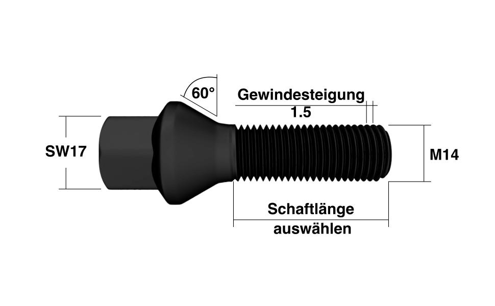 Radschrauben M14x1,5 Kegelbund in Schwarz