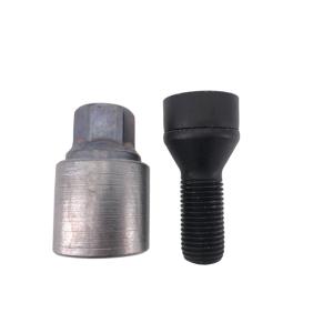 Levando Radschrauben 4x Felgenschloss + 2 Schlüssel M14x1,5x27 Kegel 60° schwarz
