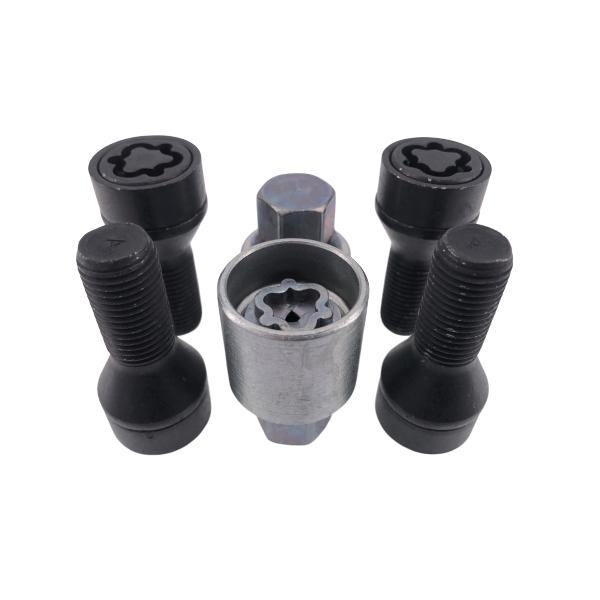 Levando Radschrauben 4x Felgenschloss + 2 Schlüssel M12x1,5x26 Kegel 60° schwarz